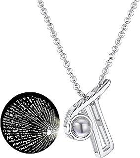 T400 Collier en Argent Sterling 925 Je taime 100 Langues Pendentif de Projection Bijoux Cadeaux pour Femmes Filles 40+3cm Cha/îne