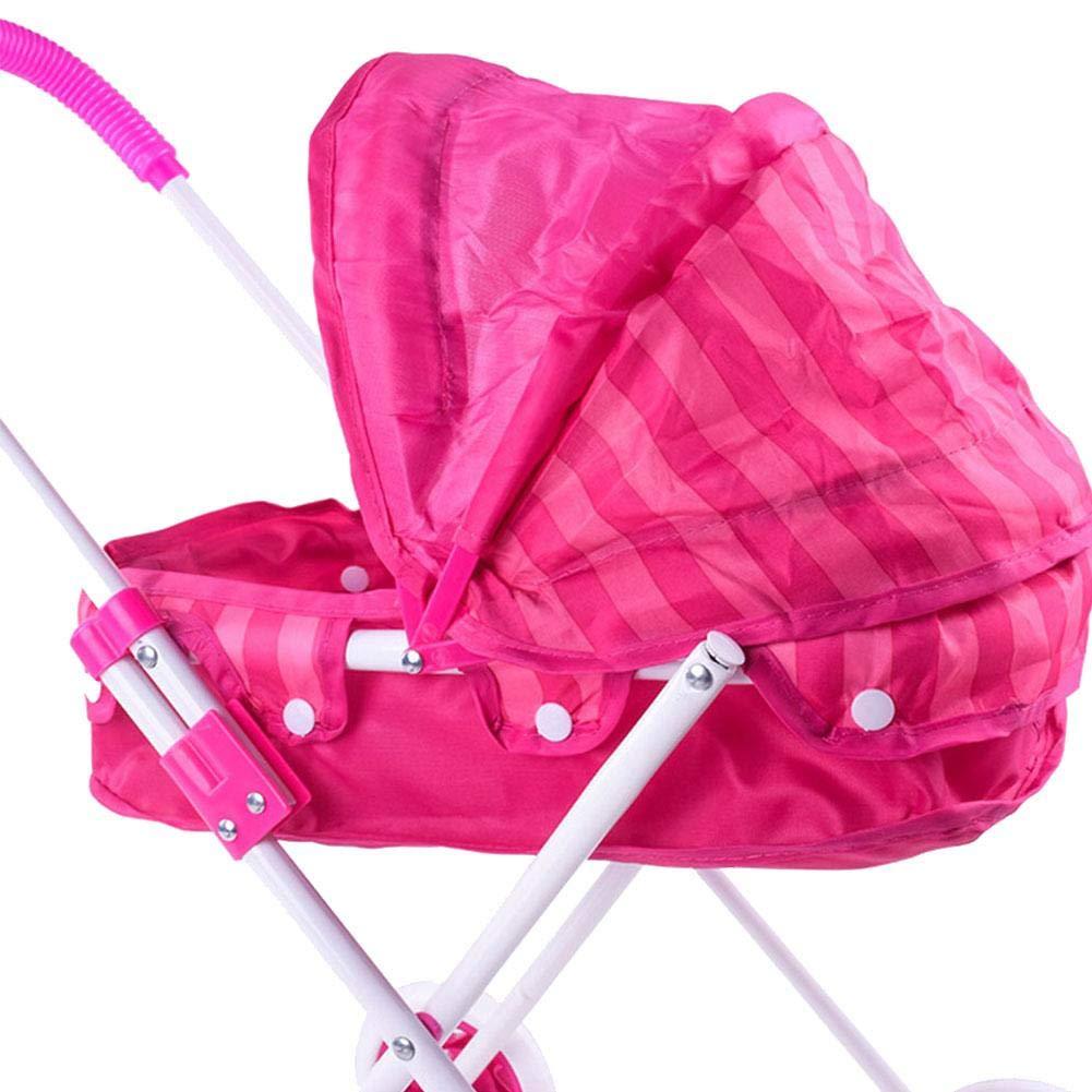 Doll Trolley Girls Carrito simulado Cochecito Cochecito Juguetes para niños Sillas de Paseo Portátil Juego de Roles para bebés Muñecas Cochecito para