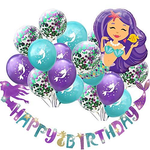 C L Cooper life Meerjungfrau Thema Mitbringsel Lieferungen, Sparkle Glitter Mermaid Alles Gute zum Geburtstag Banner, 30 unter dem Meer Luftballons