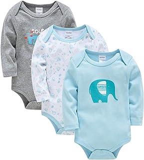 Pack de 3 Bebé Niños Niñas Body Mono Mameluco Algodón Peleles Pijama de Manga Larga Dibujos Animados Regalo de Recien Nacido
