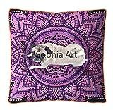 Sophia Art Cojín de meditación con diseño de Flores Rosas, Hecho a Mano, para Cama de Perro, Mandala Bohemia