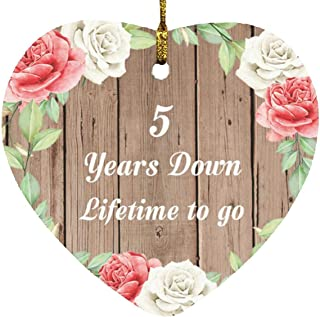 5th Anniversary 5 Years Down Lifetime to Go - Heart Wood Ornament B Christmas Tree Hanging Decor - for Wife Husband Wo-Men...