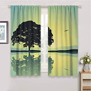 zojihouse Nature A Plant Standing Alone with Reflection in Water Gulls Silhouettes Nature Scenery Decorative Curtains for Living Room Yellow Green Blackout Draperies for Bedroom W55xL63