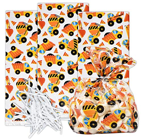 100 Construction Cellophane Bags Builder Trucks & Vehicles Plastic Treat Favor Bag Birthday Party Supplies Decorations for Kids Classroom Reward, Carnival, Games, Candy Goody Grab Bag Gift Boutique