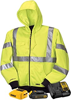 DeWALT - Medium - 20/12-Volt High Visibility MAX Unisex Heated Hoodie with 20-Volt Lithium-Ion MAX Battery and Charger - Yellow - DCHJ071C1