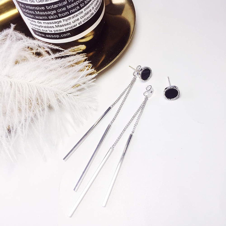 Simple Two Wearing Earrings Female Temperament Korean Personality Wild Earrings Fringed Ear line Cold Wind Pure Silver Ear Nails SLR