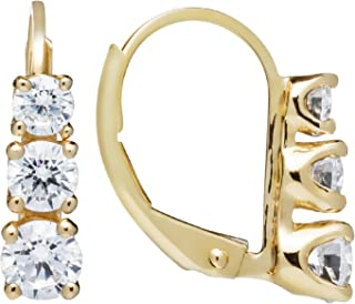 14K Solid White or Yellow Gold Earrings   Round Cut Leverback 3-Stone
