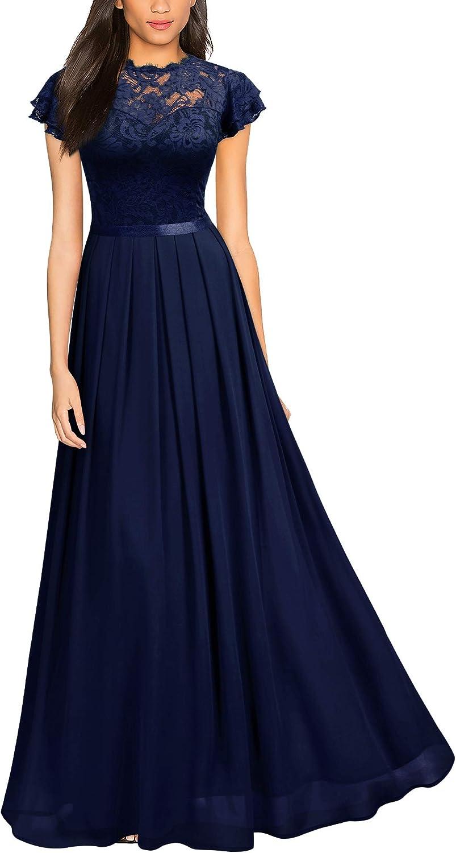 Miusol Women's Retro Ruffle Style Bridesmaid Maxi Dress