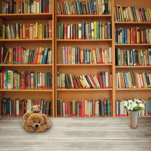 Leowefowa 5X5FT Bookshelf Backdrop Retro Bookcase Backdrops for Photography School Library Interior Study Room Lovely Bear Books Shabby Wood Floor Vinyl Photo Background Kids Students Studio Props