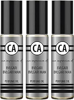 CA Perfume Impression of Bvl. Man Fragrance Body Oils Alcohol-Free Essential Aromatherapy Sample Travel Size Roll-On 0.3 Fl Oz/10 ml X3