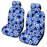 Set of 2 - Blue Monstera's Shadow Hawaiian Separate Headrest Car Seat Cover; Made in Hawaii