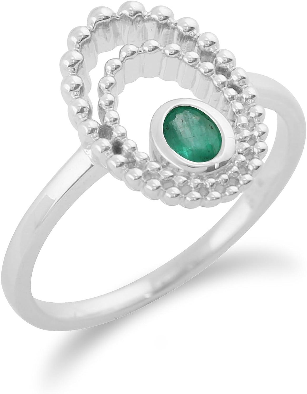 Gemondo Emerald Ring, 925 Sterling Silver 0.18ct Emerald Ring