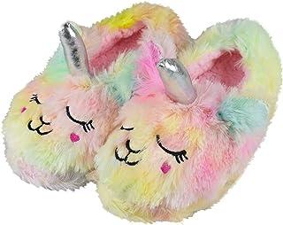 Tirzrro Girls/Kids Cute Unicorn Slippers with Warm Plush Fleece House Slip-on Shoes
