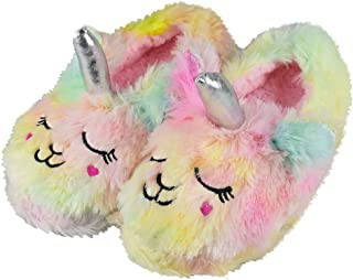Tirzrro Girls/Kids Cute Unicorn Slippers with Warm Plush Fleece House Slip-on Shoes