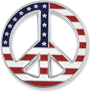 American Flag Peace Sign Patriotic Enamel Lapel Pin