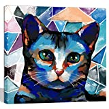 Welmeco Contemporary Art Animals Wall Decor Abstract Blue Cat Painting Giclee Prints Gallery Wrap Ready to Hang for Cat Lovers Home Bedroom Living Room Pet Shop Decoration