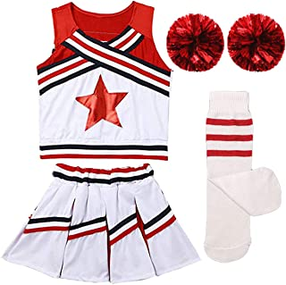 Girls Kids Cheerleader Uniform Costume Soccer Carnival Party Outfit Crop Top with Skirt Knee Socks Match Pom poms Set