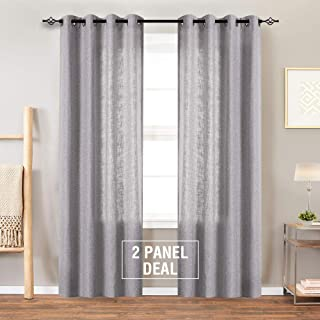 Linen Textured Curtains for Living Room Curtains Light Filtering Window Treatment Set for Bedroom 84 inches Long Drapes 2 Panels Grommets Top Grey