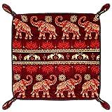 HOHOHAHA Bandeja plegable de piel sintética para guardar relojes, joyas, elefantes sin costuras, religión, creencia roja