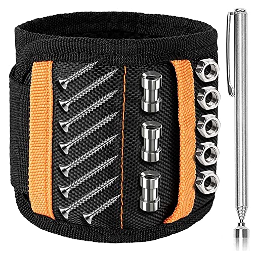 XMSTORE Magnetic Wristband with 15 Strong Magnets for Holding Screws, Plus 1 Retractable Magnetic Pick Up, Tools Gifts for Handymen, Dad, Husband OrangeBlack