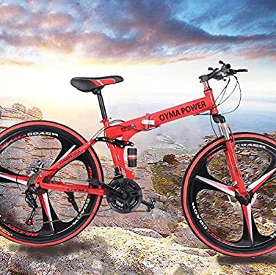 VANP 26 Inch Folding Mountain Bike with 21 Speed | Adults Bicycle Mountain Bike for Women Men | Dual Disc Brakes Full Suspension Non-Slip [US in Stock] (C RED)
