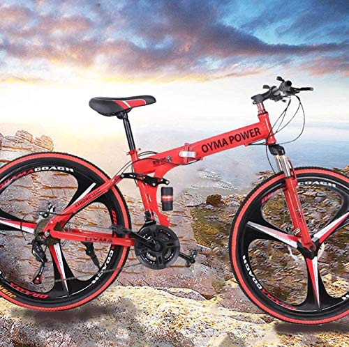 VANP 26 Inch Folding Mountain Bike with 21 Speed   Adults Bicycle Mountain Bike for Women Men   Dual Disc Brakes Full Suspension Non-Slip [US in Stock] (C RED)