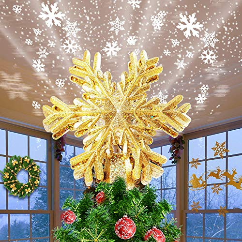 Hwook Christmas Tree Topper Snowflake Projector – Indoor LED Rotating Snowflake, 3D Golden Glitter Snowflake Tree Topper for Xmas/Holiday Tree Decoration