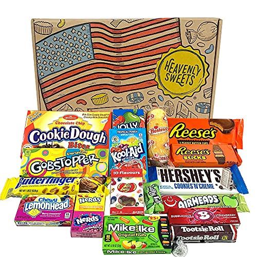 Heavenly Sweets Amerikanische Süßigkeiten & Schokolade Geschenkbox - Klassische USA-Marken-Box voller Leckereien - Ideales Geschenk für Geburtstag, Weihnachten, Halloween - 19 Snacks, 28x19x4cm