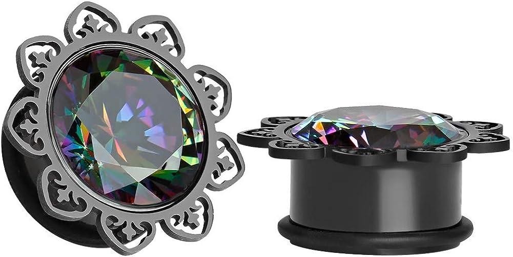TBOSEN 2 pcs Hollow Out Black Flower Saddle Ear Plugs Zircon Gauges Tunnels Jewelry Body Piercing
