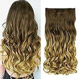 Neverland - Extensiones de cabello de 60cm, pelo ondulado, tono degradado, teñidas por inmersión, con horquillas