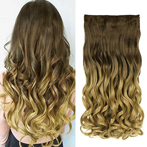 Neverland 24 pouces (60cm) de Full Clip Tete dans les extensions de cheveux ondules boucles Ombre dip-dye 8#/24#