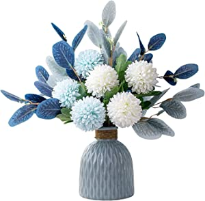 LADADA Artificial Flower and VaseFake HydrangeaFlower Arrangement, Used for Home Office Party Wedding Table Dining Table Decoration Restaurant Kitchen Decoration