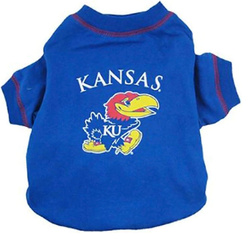 Pets First Small Pet Animal Comfortable Portable Kansas Jayhawks Dog Tee Shirt Xtra Small
