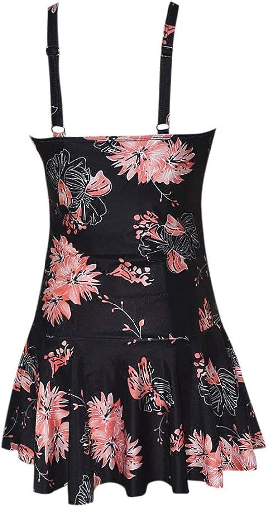 BHUI Women's Plus Size Swimwear Conservative Bohemian Print Swimsuit Skirt Open Back Bathing Suits with Shorts Bottom