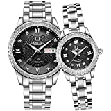 Luxury Men and Women Couple Automatic Watches Her and His Set Watches Silver Stainless Steel Dress Watch