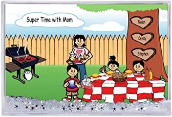 Printed Perfection Personalized Gifts Family Backyard Bbq Single Mom 2 Boys 1 Girl Ntt