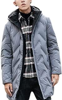 Macondoo Men Hoodies Jacket Mid Long Classic Fall/Winter Quilting Packable Puffer Down Coat