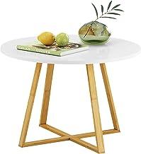 طاولة قهوة دائرية من هومفورت، طاولة كوكتيل بيضاء حديثة، أثاث بلمسة خشبية بمظهر خشبية، طاولة بأطراف أريكة مقاس 60.95 سم بإط...