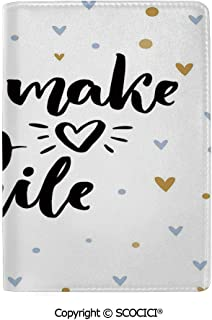 SCOCICI Leather Passport Cover Luxury Motivational You Make My Heart Smile Lettering with Heart Shapes Love Display Protector Case Holder
