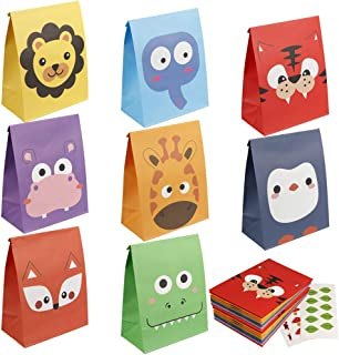 Adorox 24 Pack Zoo Animal Cardboard Treat Box Children Birthday Party Goody Bags Treat Boxes Assorted 24 Animal Boxes