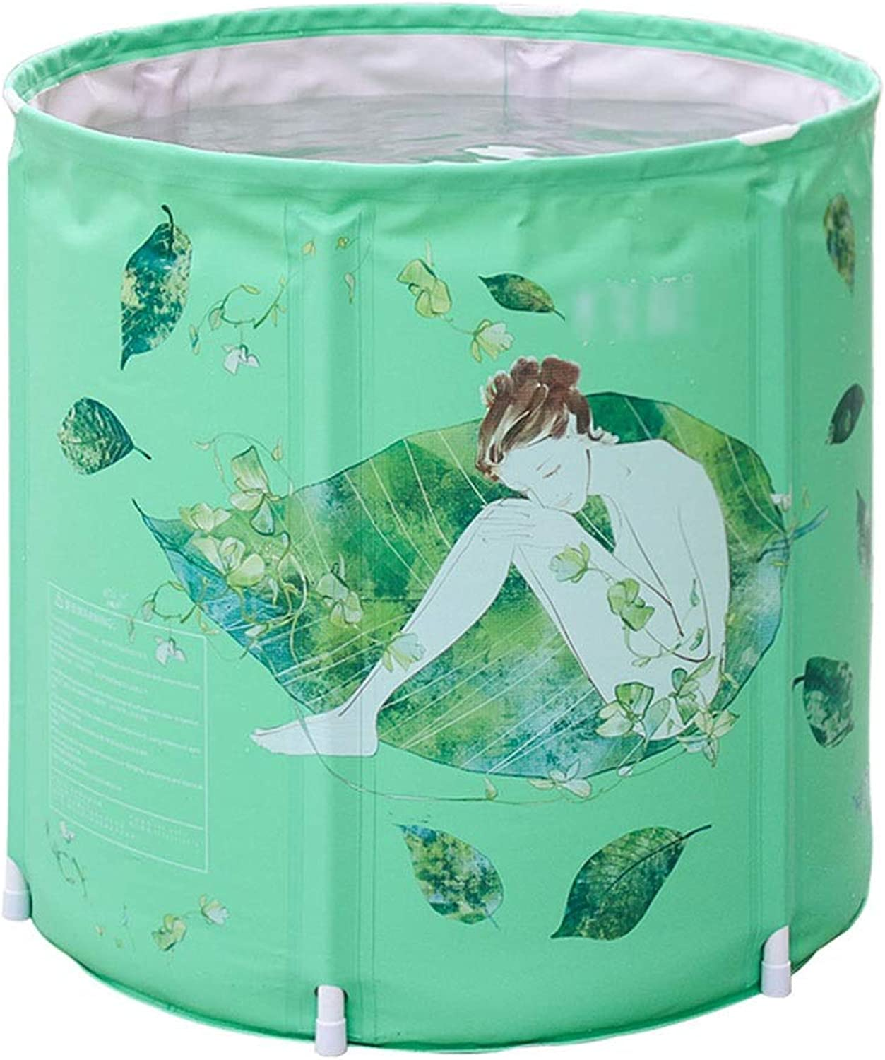 Soaking Baths Bath Barrel Adult Household Folding Bath Barrel Full Body Bath Barrel Thickened Bath Barrel Three-layer Quilted Long Holding Time (color   Green, Size   58  70cm)