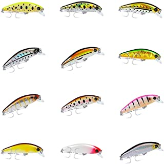 F Fityle 12x 3D Minnow Feather Fishing Lures, Artificial Baits, Hard Bait, Bass CrankBaits, Swimbaits Mini Micro Jig Hook for Perch Walleye