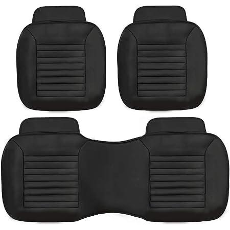 Sportmax Cojines Cubre Asientos para Auto, Carro y camioneta, Juego Completo (Negro)