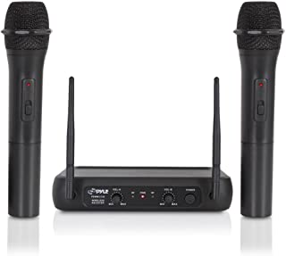 Dual Channel Wireless Microphone System - VHF Fixed Dual Frequency Wireless Mic Receiver Set with 2 Handheld Dynamic Transmitter Mics, Receiver Base - For PA, Karaoke, Dj Party - Pyle Pro PDWM2135