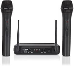 Pyle Channel Microphone System-VHF Fixed Dual Frequency Wireless Set with 2 Handheld..