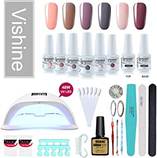 Vishine Gel Nail Polish Starter Kit No Wipe Top Base Cost 48W LED Nail Lamp & 6 Diffrent Shades Nail Art Tools,Nail Salon Home Gel Manicure #10