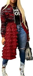 Women Camo Mesh Patchwork Bomber Jacket Front Zip Lace Ruffle Hem Split Trench Coat Dress Casual Club