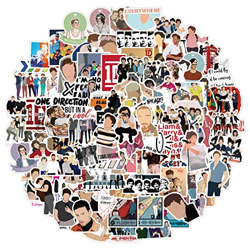 100Pcs One Direction Stickers for Water Bottle, Cool Music Band Sticker for Teen Adult Laptop, Phone, Skateboard, Travel Case,Bike, Guitar, Computer (One Direction)