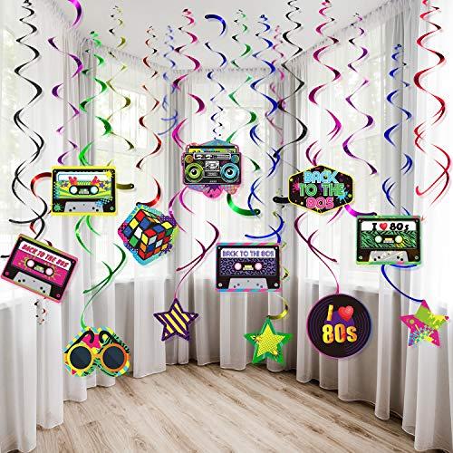 Kit de Decoraciones de Fiesta 80s, Decoraciones de Techo Remolino Colgante Fiesta 80s Retro Doble Espiral Papel de Aluminio Colgante Remolinos Signo Hip Hop 80s para Artículo de Fiesta 80s, 30CT