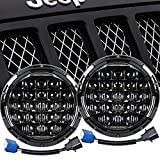 Falconstar 7' 105W LED Headlight Round Headlamp Daytime Running Light DRL Compatible with Jeep Wrangler JK TJ LJ CJ Motorcycles-5D Round Projector with H4 H13 Adapter High Low Beam, 2PCS